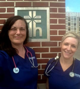 USI online RN to BSN graduates Amanda Newcomb and Amy Perry