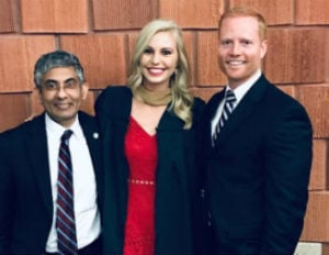 USI MBA grad Alyssa Moore with faculty members Dr. Mohammed Khayum and Dr. Jack Smothers